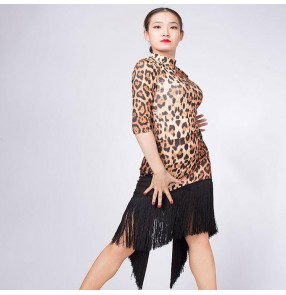 Competition latin dresses for women leopard sexy stage performance salsa chacha rumba dancing tops and skirts